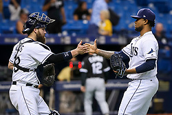 June 8, 2017 - St. Petersburg, Florida, U.S. - WILL VRAGOVIC   |   Times.Tampa Bay Rays catcher Derek Norris (33) high fives relief pitcher Alex Colome (37) after the game between the Tampa Bay Rays and the Chicago White Sox at Tropicana Field in St. Petersburg, Fla. on Thursday, June 8, 2017. The Tampa Bay Rays beat the Chicago White Sox 7-5. (Credit Image: © Will Vragovic/Tampa Bay Times via ZUMA Wire)