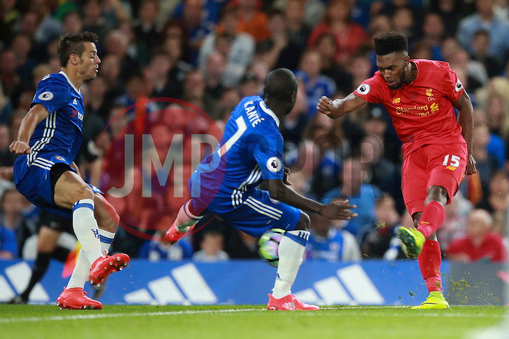 Daniel Sturridge of Liverpool shot was saved by Thibaut Courtois of Chelsea - Mandatory by-line: Jason Brown/JMP - 16/09/2016 - FOOTBALL - Stamford Bridge - London, England - Chelsea v Liverpool - Premier League