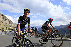 Esteban Chaves (COL) Orica-Scott and Matteo Bono (ITA) UAE Team Emirates climb Col d'Izoard during Stage 18 of the 104th edition of the Tour de France 2017, running 179.5km from Briancon to the summit of Col d'Izoard, France. 20th July 2017.<br /> Picture: Eoin Clarke | Cyclefile<br /> <br /> All photos usage must carry mandatory copyright credit (© Cyclefile | Eoin Clarke)