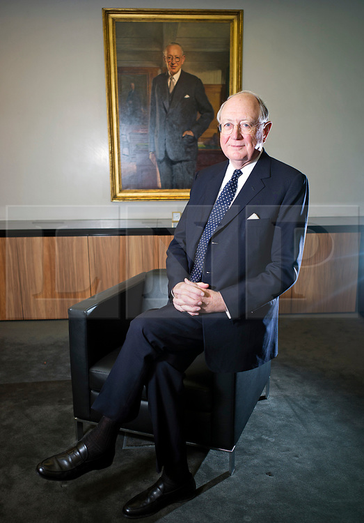 © Licensed to London News Pictures. 22/02/2013. London, UK. Bruno Schroder pictured at his London office in front of a portrait of his father, Helmut. The billionaire head of his family's investment bank, has passed away aged 86. Photo credit: Ben Cawthra/LNP