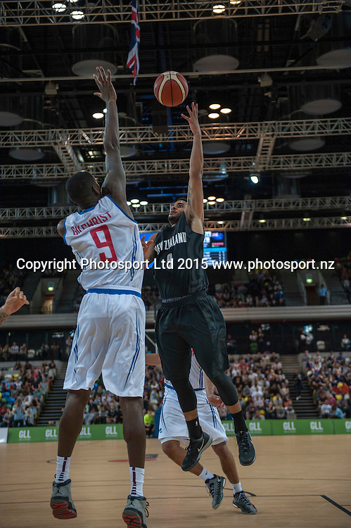 25.07.2015. London England. Basketball test match. Great Britain versus New Zealand.  Tall Blacks Guard Corey Webster [#9] in action.