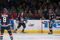 KELOWNA, CANADA - SEPTEMBER 28:  Rourke Chartier #14 of the Kelowna Rockets celebrates a goal against the Victoria Royals at the Kelowna Rockets on September 28, 2013 at Prospera Place in Kelowna, British Columbia, Canada (Photo by Marissa Baecker/Shoot the Breeze) *** Local Caption ***
