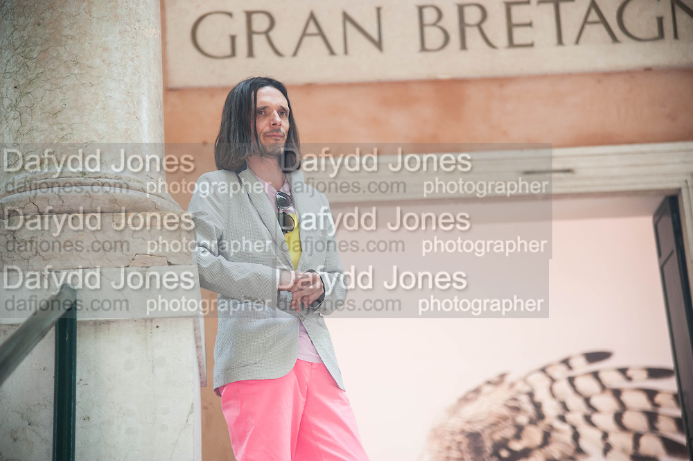Jeremy Deller outside his exhibition at the British Pavilion. Venice. Venice Bienalle. 29 May 2013