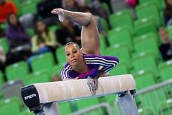 05-04-2015 SLO: World Challenge Cup Gymnastics, Ljubljana<br /> Lorrane Dos Santos Oliveira of Brasil competes in Balance Beam during Final of Artistic Gymnastics World Challenge Cup Ljubljana, on April 5, 2015 in Arena Stozice, Ljubljana, Slovenia. Photo by Morgan Kristan / RHF Agency