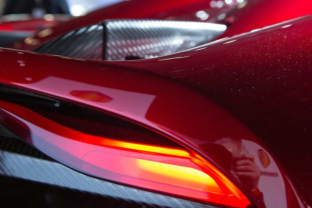 """New York, NY, USA-23 March 2016. Details of the tail of the Koenigsegg Regera. The model, a hybrid luxury """"megacar"""" which retails for US $2m, will be limited to 80 examples worldwide."""