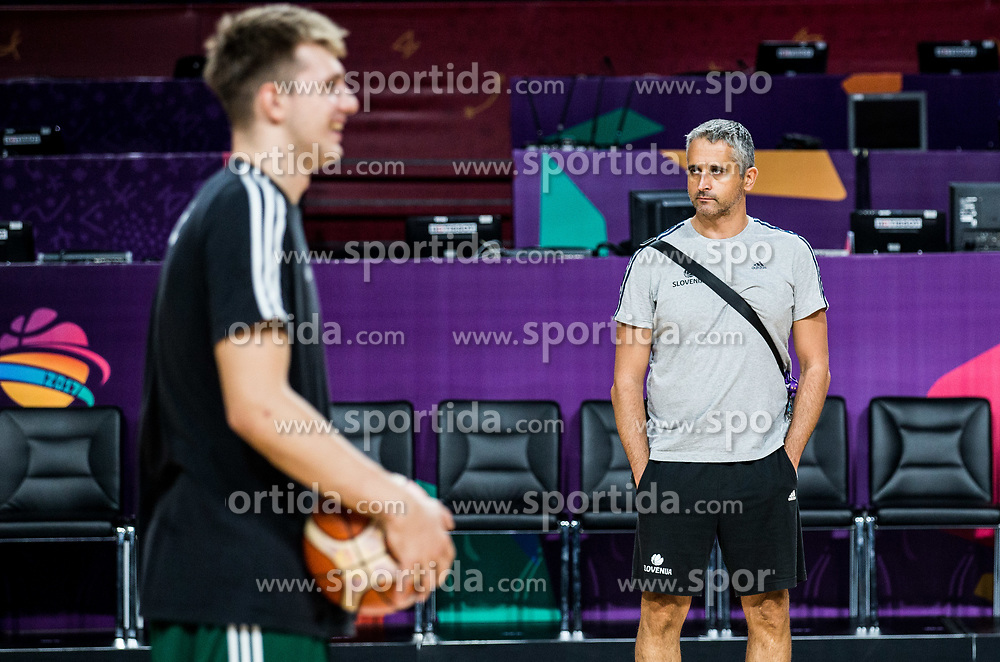 Luka Doncic of Slovenia and Igor Kokoskov, coach of Slovenia at practice session of Team Slovenia 1 day before final match against Serbia at Day 17 of FIBA EuroBasket 2017 at Sinan Erdem Dome in Istanbul, Turkey on September 16, 2017. Photo by Vid Ponikvar / Sportida