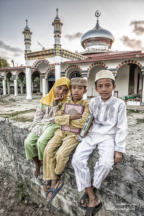 Muslim boys going to a mosque to study Islam, Sumba, Indonesia
