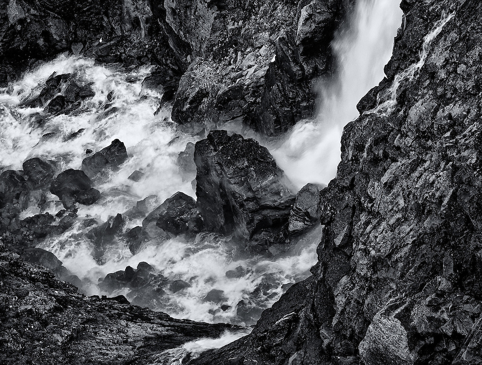 Norway - Detail of Stigfossen waterfall BW