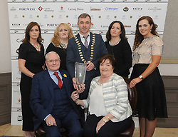 Martin Curry with Kay and daughters Clodagh, Corrina, Sharon and Martine with Darren Cawley at the Westport Lions club Clew Bay People of the Year Awards<br /> Pic Conor McKeown