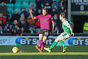 James Forrest (#49) of Celtic plays a short pass during the Ladbrokes Scottish Premiership match between Hibernian and Celtic at Easter Road, Edinburgh, Scotland on 10 December 2017. Photo by Craig Doyle.