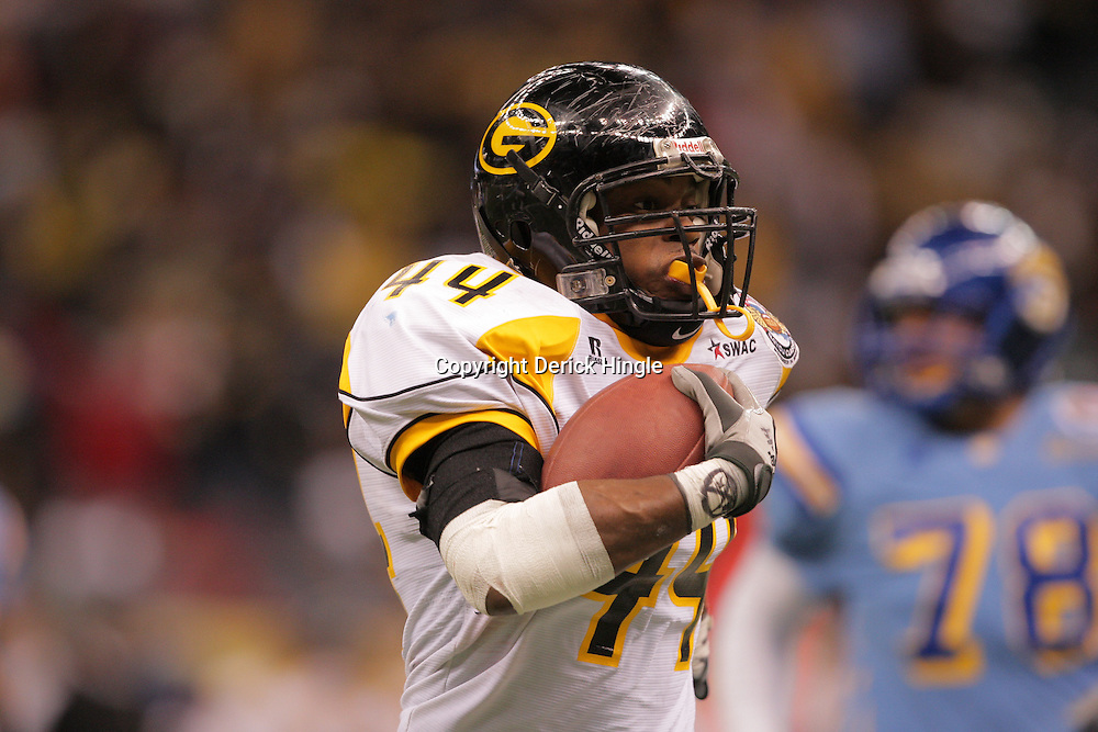 2008 November, 29: Grambling State linebacker Keefe Hall (44) returns an interception during a 29-14 win by Grambling State over Southern University during the 35th annual State Farm Bayou Classic at the Louisiana Superdome in New Orleans, LA.  .