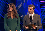 """KATE, DUCHESS OF CAMBRIDGE.made her first formal public appearance since her pregnancy was announced at he BBC Sports Personality of the Year ceremony at the Excel Centre in London, where she presented two awards. .Wearing a green Alexander McQueen dress with a slit down the front, she spent 45 minutes at theevent before returning back to Kensington Palace_16/12/2012.David Beckham was one of the main pesenters of the show..MANDATORY PHOTO CREDIT: NEWSPIX INTERNATIONAL..**ALL FEES PAYABLE TO: """"NEWSPIX INTERNATIONAL""""**..IMMEDIATE CONFIRMATION OF USAGE REQUIRED:.Newspix International, 31 Chinnery Hill, Bishop's Stortford, ENGLAND CM23 3PS.Tel:+441279 324672  ; Fax: +441279656877.Mobile:  07775681153.e-mail: info@newspixinternational.co.uk"""