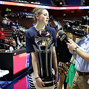 Katie Lou Samuelson, UConn, with the trophy after the UConn Huskies Vs USF Bulls 2016 American Athletic Conference Championships Final. Mohegan Sun Arena, Uncasville, Connecticut, USA. 7th March 2016. Photo Tim Clayton