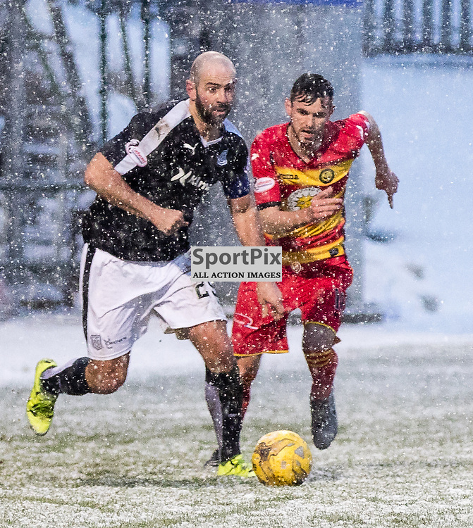Partick Thistle's Michael McMullin tackles Dundee's Gary Harkinsduring the Partick Thistle FC V Dundee FC Scottish Premiership game, 16th January 2016; (c) BERNIE CLARK | SportPix.org.uk