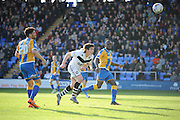Goal - Louis Dodds of Port Vale FC heads home to make it 1-0 during the Sky Bet League 1 match between Shrewsbury Town and Port Vale at Greenhous Meadow, Shrewsbury, England on 25 March 2016. Photo by Mike Sheridan.