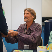 London, England, UK. 20th October 2017. Dr Will Tuttle book signing at the Vegen Celebrity Zone at The First VegfestUK Trade at Olympia London, UK