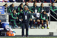 24 October 2014: Mexico head coach Leonardo Cuellar (MEX) stands in front of his bench. The United States Women's National Team played the Mexico Women's National Team at PPL Park in Chester, Pennsylvania in a 2014 CONCACAF Women's Championship semifinal game, which serves as a qualifying tournament for the 2015 FIFA Women's World Cup in Canada. The United States won the game 3-0. With the victory the U.S. advanced to the championship game and qualified for next year's Women's World Cup.