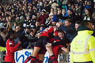 30th December 2017, McDiarmid Park, Perth, Scotland; Scottish Premiership football, St Johnstone versus Dundee; Dundee players celebrate with the crowd after A-Jay Leitch-Smith had scored a late second goal to seal their win at St Johnstone