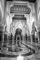 The spectacular Hassan II Mosque sits grandly on the shore of Casablanca, Morocco.
