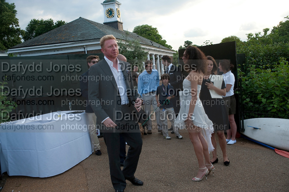 BORIS BECKER; LILY BECKER, Chucs Dive & Mountain Shop charity Swim Party: Lido at The Serpentine. London. 4 July 2011. <br /> <br />  , -DO NOT ARCHIVE-© Copyright Photograph by Dafydd Jones. 248 Clapham Rd. London SW9 0PZ. Tel 0207 820 0771. www.dafjones.com.