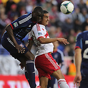 Bakary Soumare, Chicago Fire, and Tim Cahill, New York Red Bulls, challenge for the ball during the New York Red Bulls V Chicago Fire, Major League Soccer regular season match at Red Bull Arena, Harrison, New Jersey. USA. 27th October 2013. Photo Tim Clayton