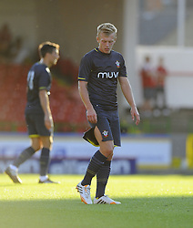 Southampton's James Ward-Prowse assess his ripped shorts - Photo mandatory by-line: Joe Meredith/JMP - Mobile: 07966 386802 21/07/2014 - SPORT - FOOTBALL - Swindon - County Ground - Swindon Town v Southampton