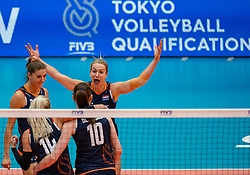 02-08-2019 ITA: FIVB Tokyo Volleyball Qualification 2019 / Belgium - Netherlands, Catania<br /> 1e match pool F in hall Pala Catania between Belgium - Netherlands / (L-R) Anne Buijs #11 of Netherlands, Laura Dijkema #14 of Netherlands, Maret Balkestein-Grothues #6 of Netherlands, Lonneke Sloetjes #10 of Netherlands