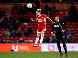 Adam Clayton of Middlesbrough heads the ball - Mandatory by-line: Robbie Stephenson/JMP - 02/03/2018 - FOOTBALL - Riverside Stadium - Middlesbrough, England - Middlesbrough v Leeds United - Sky Bet Championship