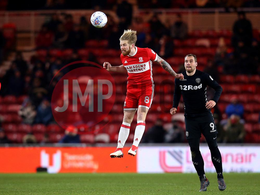 Adam Clayton of Middlesbrough heads the ball - Mandatory by-line: Robbie Stephenson/JMP - 02/03/2018 - FOOTBALL - Riverside Stadium - Middlesbrough, England - Middlesbrough v Leeds United - Sky Bet Championship