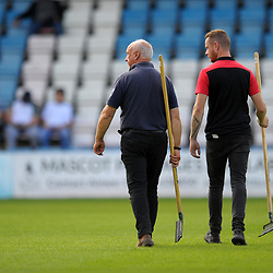 TELFORD COPYRIGHT MIKE SHERIDAN Groundstaff Mick Conway and George Conway during the National League North fixture between AFC Telford United and Kings Lynn Town at the Bucks Head on Tuesday, August 13, 2019<br /> <br /> Picture credit: Mike Sheridan<br /> <br /> MS201920-009