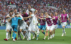 MOSCOW, July 1, 2018  Players of Russia celebrate victory after the 2018 FIFA World Cup round of 16 match between Spain and Russia in Moscow, Russia, July 1, 2018. Russia won 5-4 (4-3 in penalty shootout) and advanced to the quarter-final. (Credit Image: © Cao Can/Xinhua via ZUMA Wire)