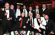Sir Peter Leitch (aka the mad butcher ) with boxing commentator Colonel Bob Sheridan and Ring announcer Dan Hennessey and guests. Parker v Flores fight night heavyweight boxing. Christchurch, New Zealand. Saturday 15 December 2018 © Copyright photo: Andrew Cornaga / www.photosport.nz