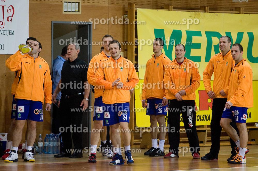 Alem Toskic, Zvonimir Serdarusic, Miladin Kozlina, Uros Zorman, Predrag Dacevic, Aljosa Rezar, Beno Lapajne and Nikola Kojic at 1st MIK Handball League match between RD Merkur Skofja Loka and RK Celje Pivovarna Lasko, on February 6, 2010 in Arena Poden, Skofja Loka, Slovenia. The teams drew a tie 28:28. (Photo by Vid Ponikvar / Sportida)