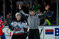 KELOWNA, BC - JANUARY 31: Kyle Topping #24 of the Kelowna Rockets looks up at line offical Jade Portwood as he calls off the face-off against the Spokane Chiefs at Prospera Place on January 31, 2020 in Kelowna, Canada. (Photo by Marissa Baecker/Shoot the Breeze)