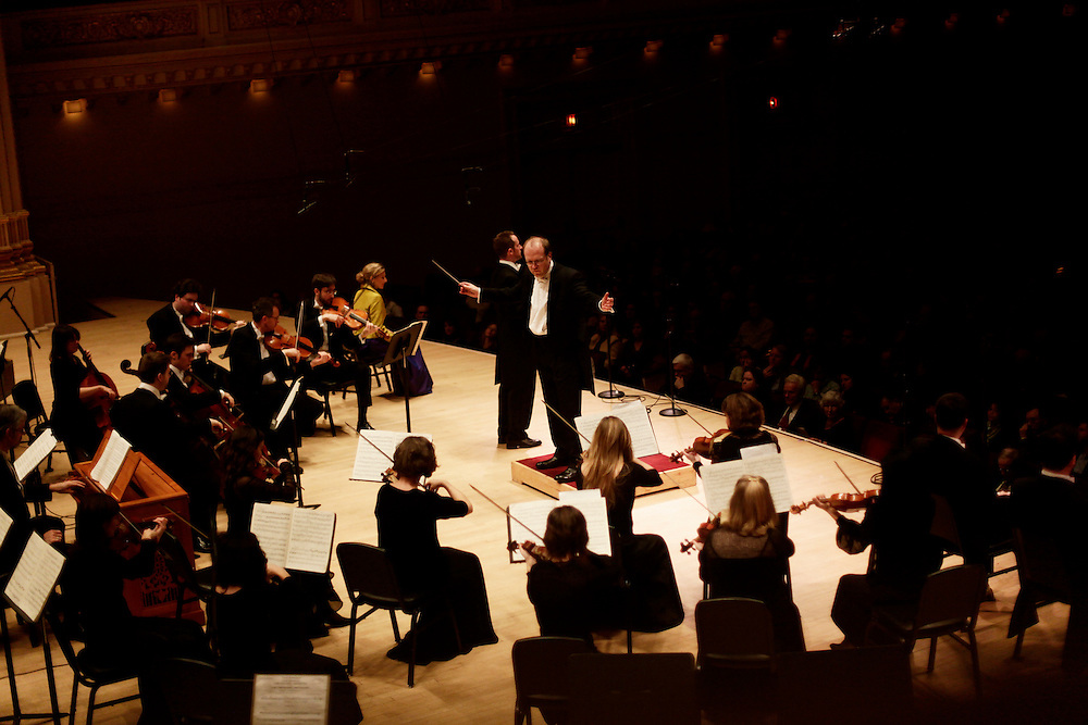 Conductor Bernard Labadie and tenor Alan Bennett  of Les Violons du Roy, La Chapelle de Québec perform at Carnegie Hall on December 11, 2009 in New York city. photo by Joe Kohen for The New York Times