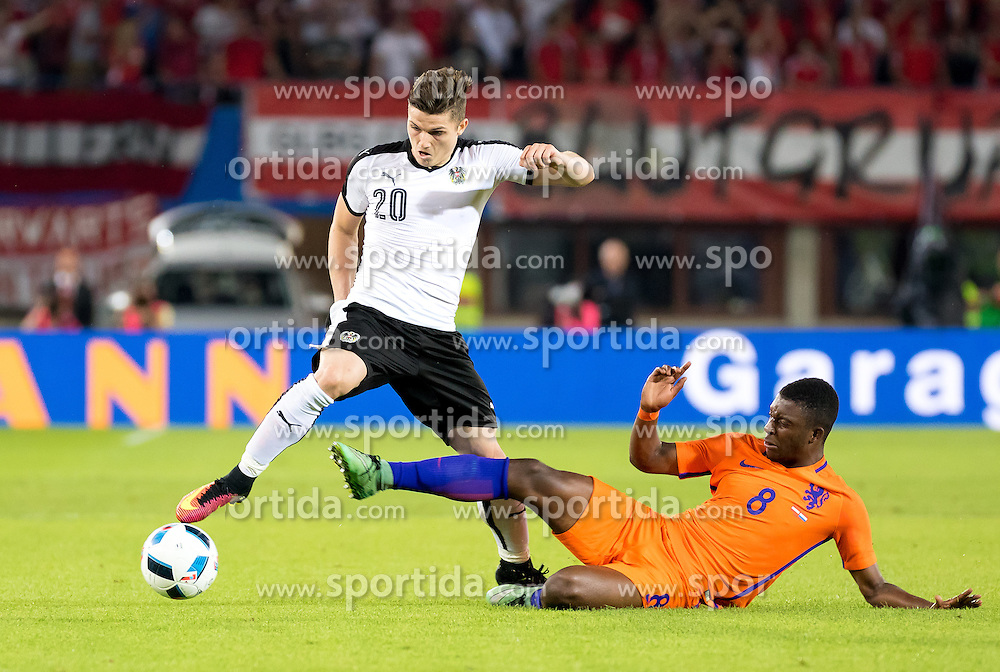 04.06.2016, Ernst Happel Stadion, Wien, AUT, Testspiel, Oesterreich vs Niederlande, im Bild v.l. Marcel Sabitzer (AUT), Riechedly Bazoer (NED) // f.l. Marcel Sabitzer (AUT), Riechedly Bazoer (NED) during the International Friendly Match between Austria and Netherlands at the Ernst Happel Stadion in Wien, Austria on 2016/06/04. EXPA Pictures © 2016, PhotoCredit: EXPA/ Sebastian Pucher