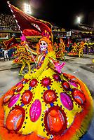 Flag bearer (porta bandeira) in the Carnaval parade of GRES Unidos do Viradouro samba school in the Sambadrome, Rio de Janeiro, Brazil.