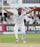 Pakistan bowler Wahab Riaz appeals during the first Investec Test Match against England at Lord's Cricket Ground, London. Photo: Graham Morris/www.cricketpix.com (Tel:+44(0)20 8969 4192; Email: graham@cricketpix.com) 17/07/2016