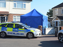 © Licensed to London News Pictures. 03/08/2018. London UK: Police at a fire damaged house in Valentines way, Rush Green, east London, where a body was found. Police say a woman believed to be in her fifties was found at the address by firefighters and that the death in being treated as unexplained. A male in his fifties, believed known to the victim is helping police with their investigation , Photo credit: Steve Poston/LNP