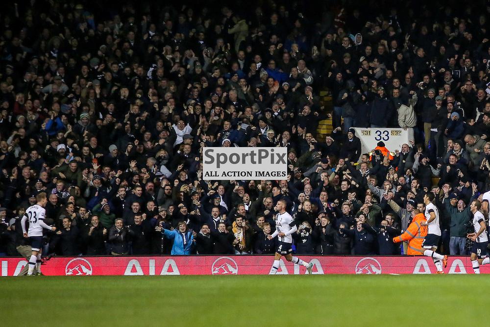 Toby Alderweireld celebrates During Tottenham Hotspur vs West Ham United on Sunday the 22nd November 2015.