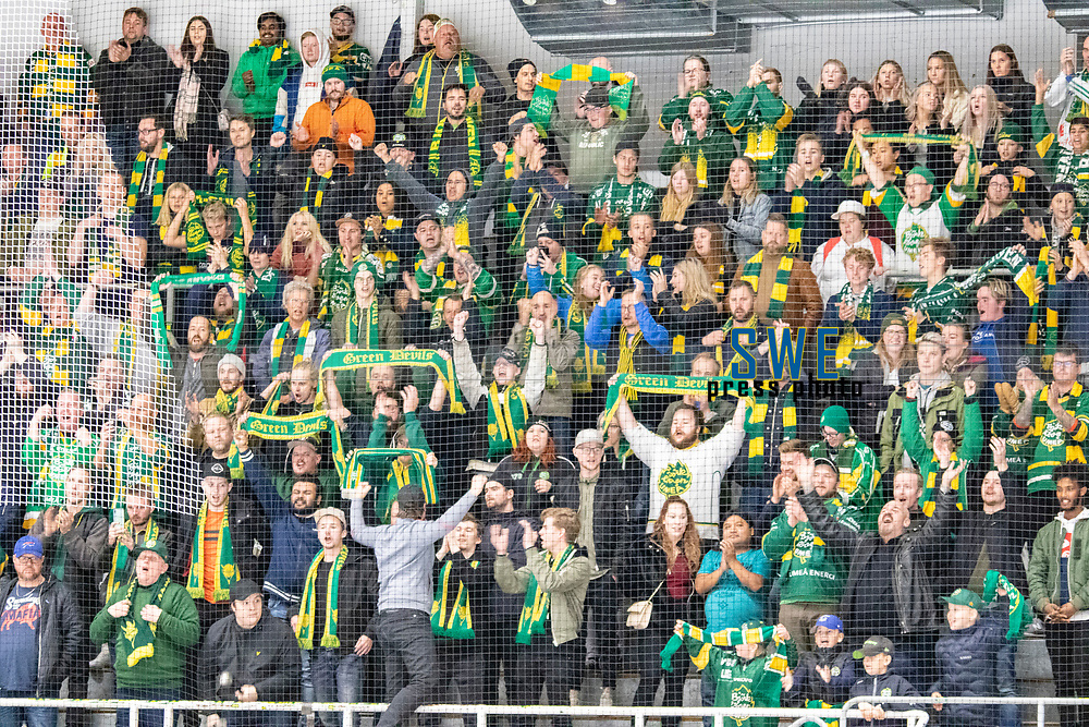 2019-10-09 | Umeå, Sweden: Happy supporters after 6-3 win in HockeyAllsvenskan after the game  between Björklöven and Karlskoga at A3 Arena ( Photo by: Michael Lundström | Swe Press Photo )<br /> <br /> Keywords: Umeå, Hockey, HockeyAllsvenskan, A3 Arena, Björklöven, Karlskoga, bk191009