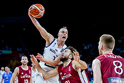 Klemen Prepelic of Slovenia vs Zanis Peiners of Latvia during basketball match between National Teams of Slovenia and Latvia at Day 13 in Round of 16 of the FIBA EuroBasket 2017 at Sinan Erdem Dome in Istanbul, Turkey on September 12, 2017. Photo by Vid Ponikvar / Sportida