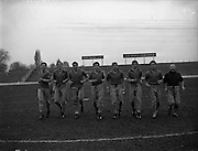 26/03/1960<br /> 03/26/1960<br /> 26 March 1960<br /> Chilean Soccer players practice at Milltown, before game with Ireland. Clousc, Members of the Chilean team pictured during a practice run.