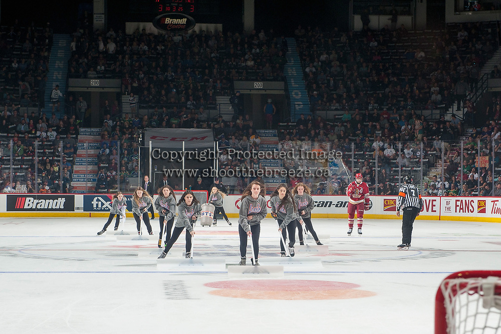 REGINA, SK - MAY 19: The ice crew at the Brandt Centre on May 19, 2018 in Regina, Canada. (Photo by Marissa Baecker/CHL Images)