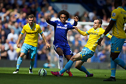 LONDON, ENGLAND - Sunday, May 3, 2015: Chelsea's Willian Borges da Silva in action against Crystal Palace's Jack Hunt during the Premier League match at Stamford Bridge. (Pic by David Rawcliffe/Propaganda)