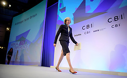 © Licensed to London News Pictures. 21/11/2016. London, UK. British prime minister THERESA MAY arrives on stage to speak at the Confederation of British Industry (CBI) conference, held at Grosvenor House in London.  Photo credit: Ben Cawthra/LNP