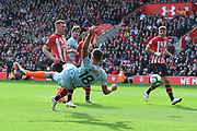 Olivier Giroud (18) of Chelsea shoots at goal which led to  Ross Barkley (8) of Chelsea scoring a goal to give a 0-2 lead to the away team during the Premier League match between Southampton and Chelsea at the St Mary's Stadium, Southampton, England on 7 October 2018.