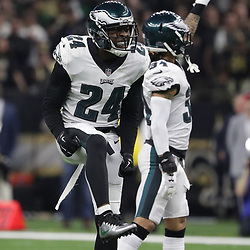Jan 13, 2019; New Orleans, LA, USA; Philadelphia Eagles free safety Corey Graham (24) reacts after a defensive stop against the New Orleans Saints during the first quarter of a NFC Divisional playoff football game at Mercedes-Benz Superdome. Mandatory Credit: Derick E. Hingle-USA TODAY Sports