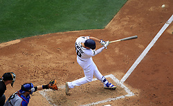 May 29, 2017 - San Diego, CA, USA - San Diego Padres' Hunter Renfroe hits a grand slam in the fourth inning against the Chicago Cubs on Monday, May 29, 2017 at Petco Park in San Diego, Calif. (Credit Image: © K.C. Alfred/TNS via ZUMA Wire)