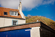 BCP St Abbs Harbour - houses and rooftops with seagull, blue sky, white washed buildings, green hill